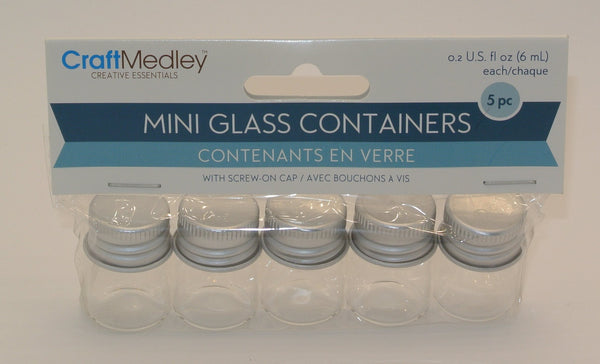 5pc. Mini Glass Containers