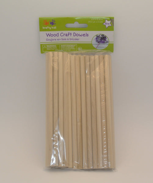 Wood Dowel, 6in, 30 Pieces