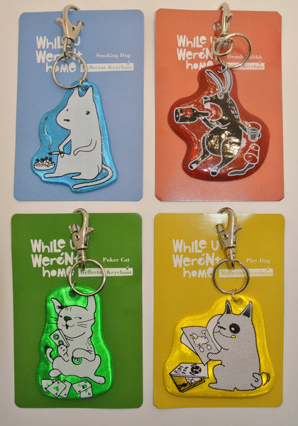 Bad Pets Reflective Keychains
