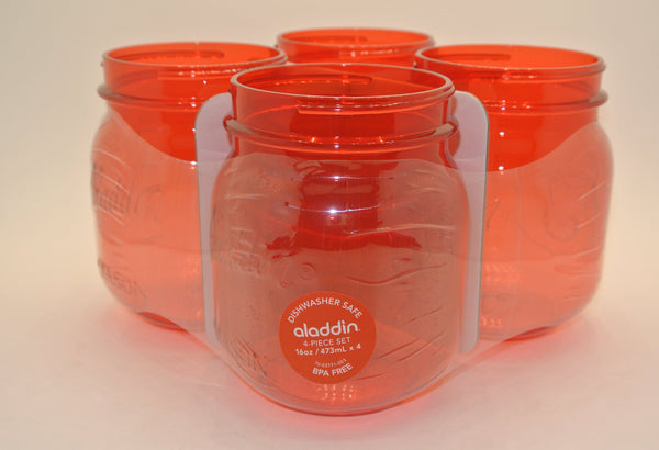 4 Pack Plastic Drinking Jars