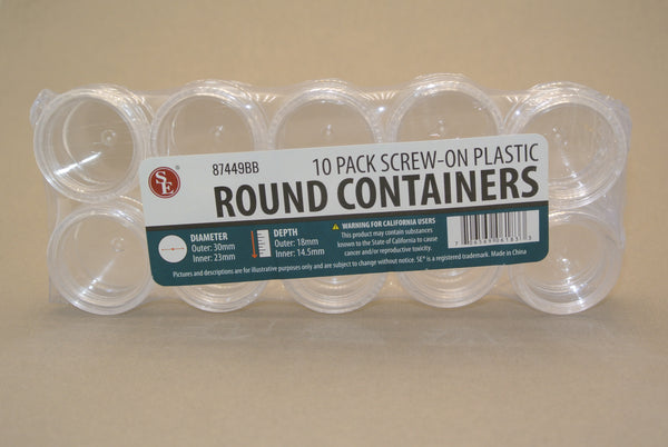 10 Pack Round Plastic Containers