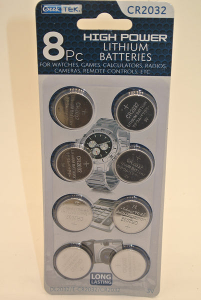 8PC Lithium Batteries CR2032