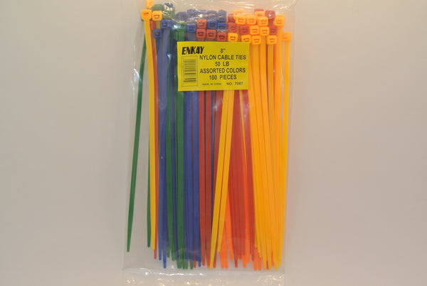 "100pc 8"" Cable Ties Assorted Colors"