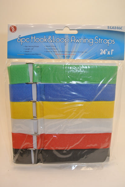 6pc Hook and Loop Straps