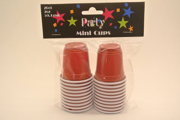 20 Pack Mini Red Plastic Cups