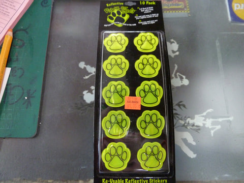 10 Pack of Reflective Re-usable Paw Safety Stickers