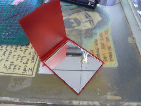 "3 1/2"" x 4"" Red Compact Mirror"