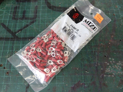 Bag of 100 22-16 AWG Red Vinyl #10 Ring Connector