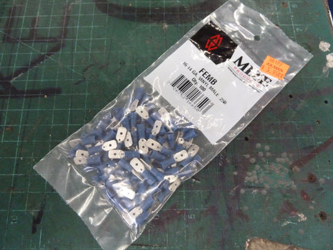 Bag of 100 16-14 AWG Blue Vinyl Male Push On Spade Connectors
