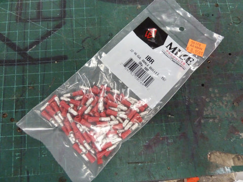 Bag of 100 22-16 AWG Red Male Bullet Connectors