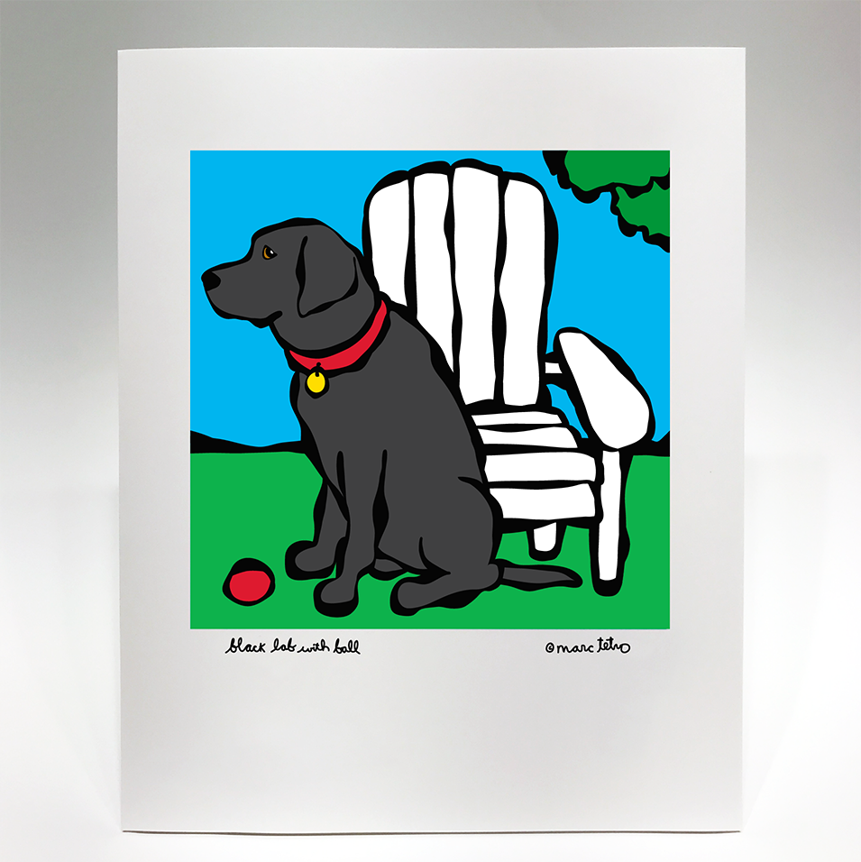 Black Lab with Ball Print