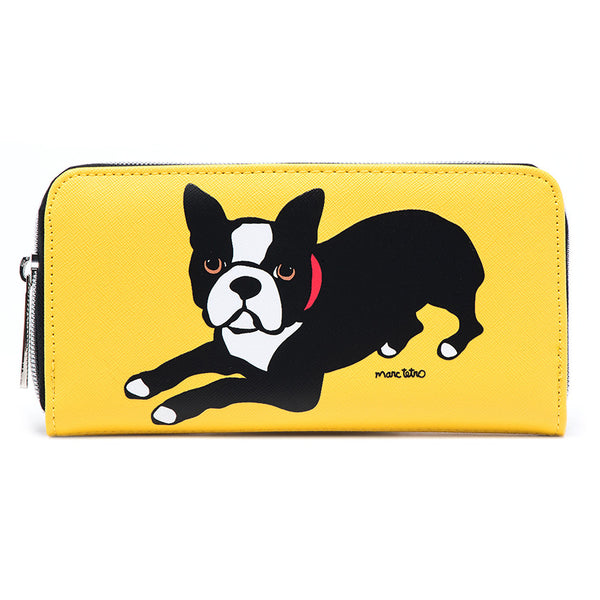 Large Zipper Wallet - Boston Terrier