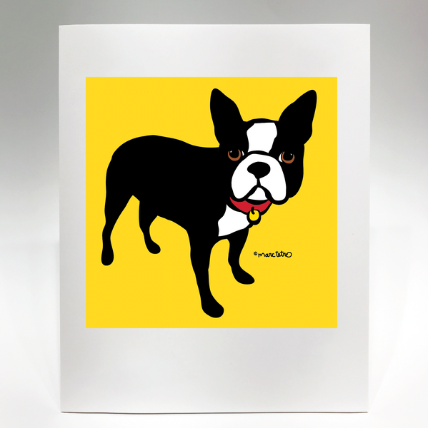 Boston Terrier on Yellow Print