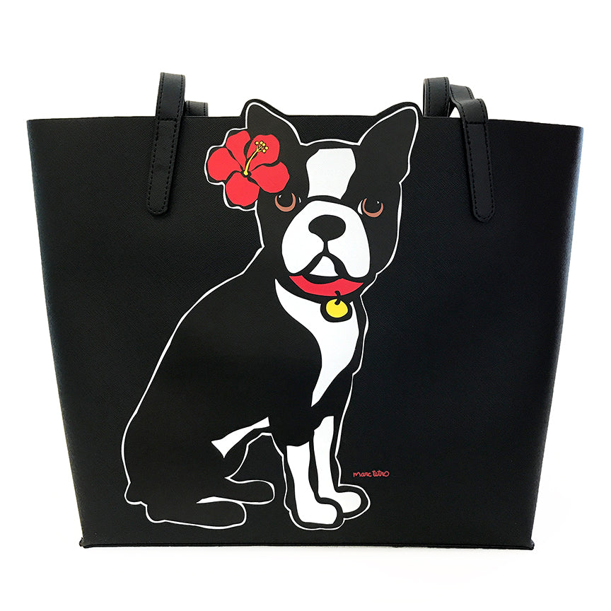 SALE! Boston Terrier with flower Tote