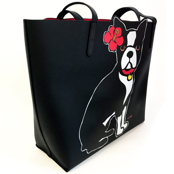 Boston Terrier with flower Tote Bag