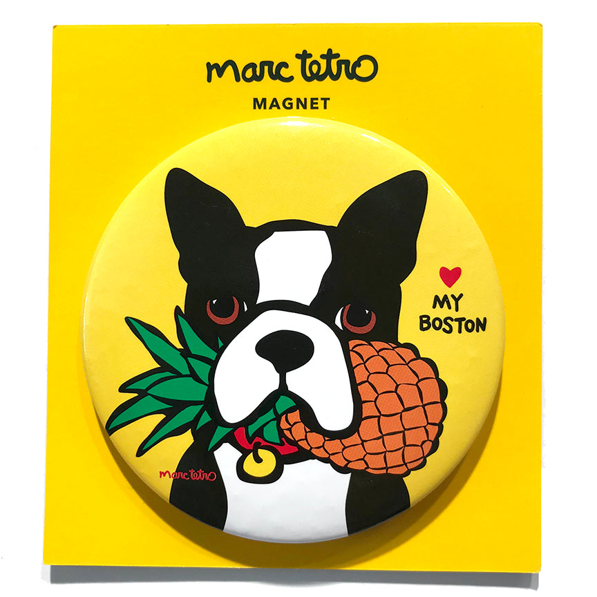 Boston Terrier with Pineapple Magnet