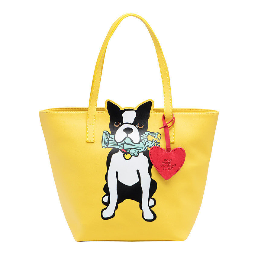 NYC Boston Terrier Tote Bag with Dangle