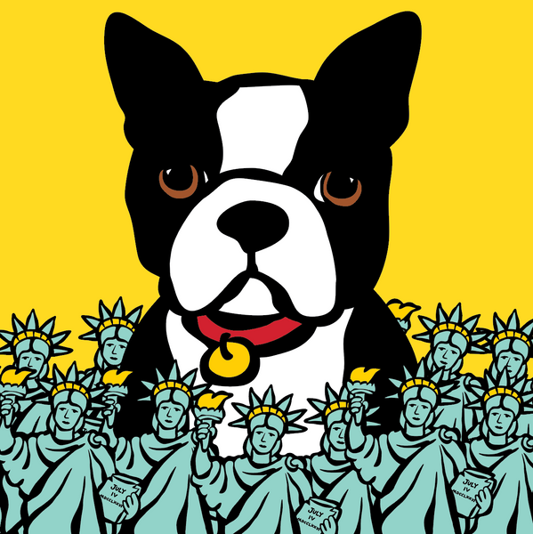 Boston Terrier with Statues of Liberty