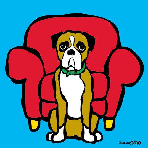 Boxer and Red Chair Print