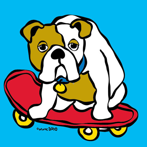 Bulldog on Skateboard Print