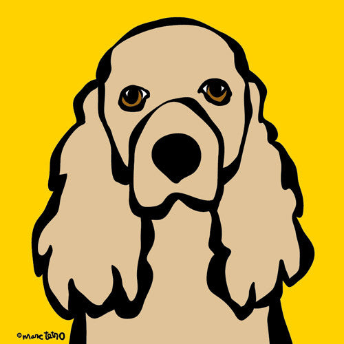Cocker Spaniel on Yellow Print