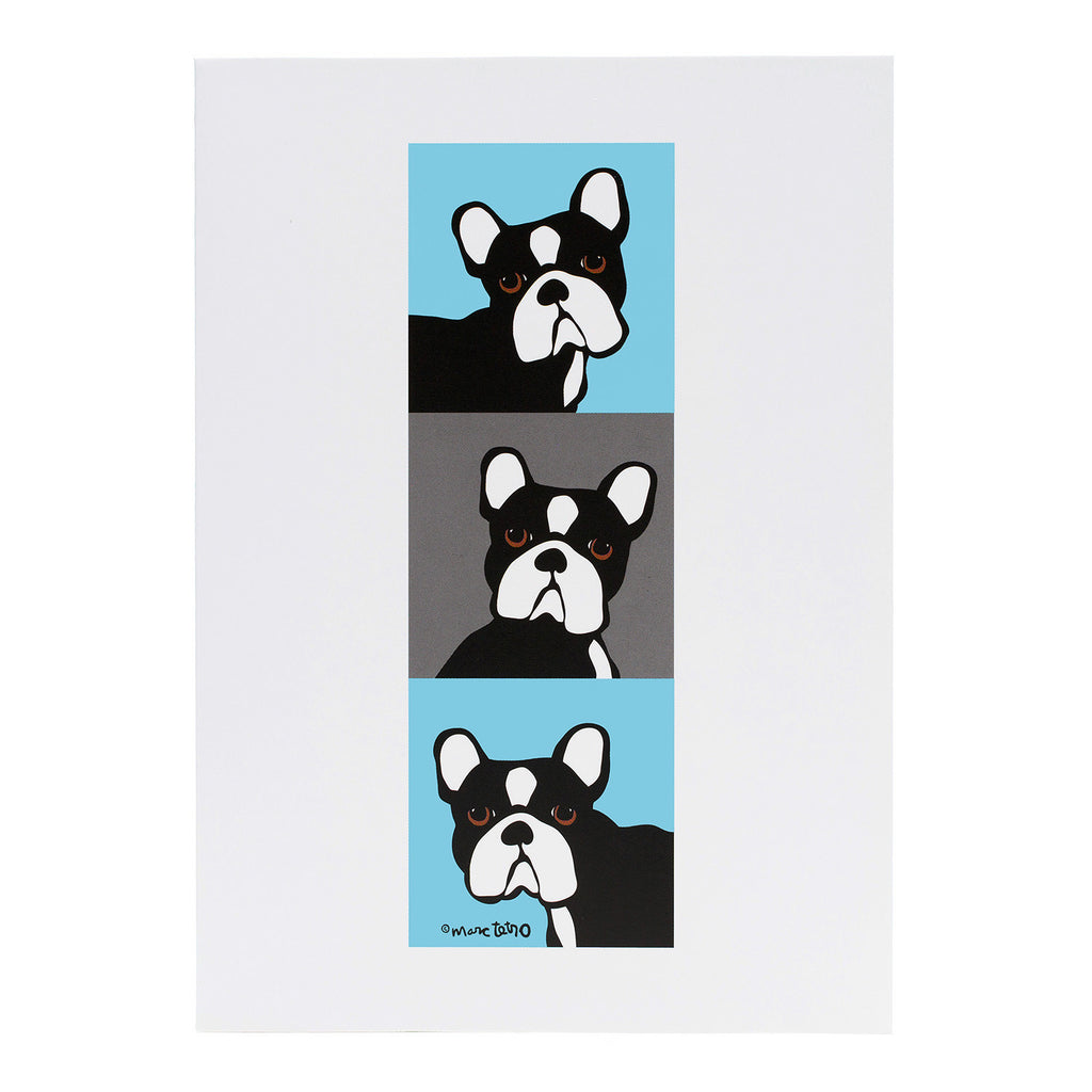 Frenchie Blue & Gray Greeting Card