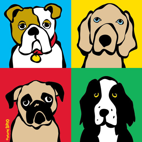 Four Dogs Print