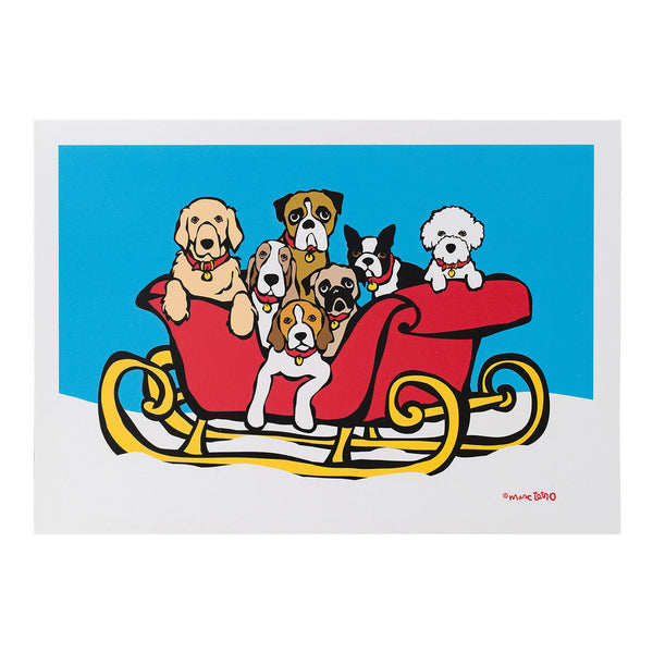 Dogs in Sleigh Holiday Cards