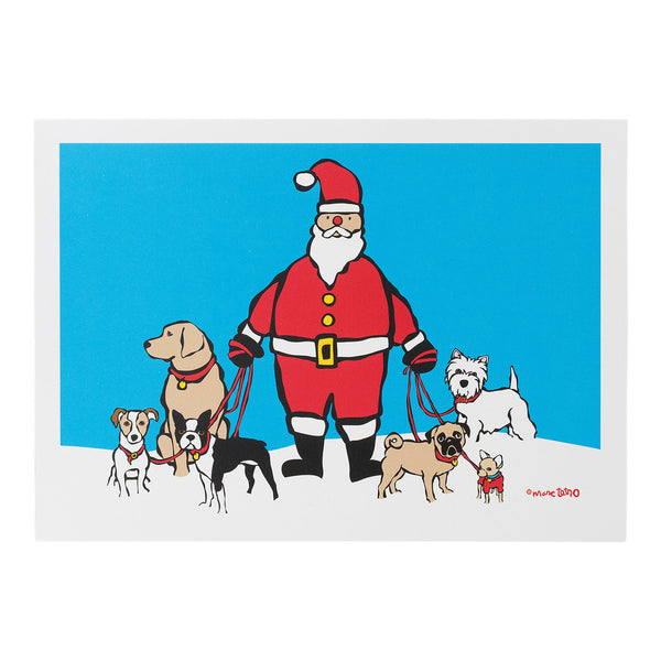 Santa Dog Walker Holiday Cards
