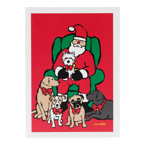 SALE! Santa in Chair with Dogs Holiday Card