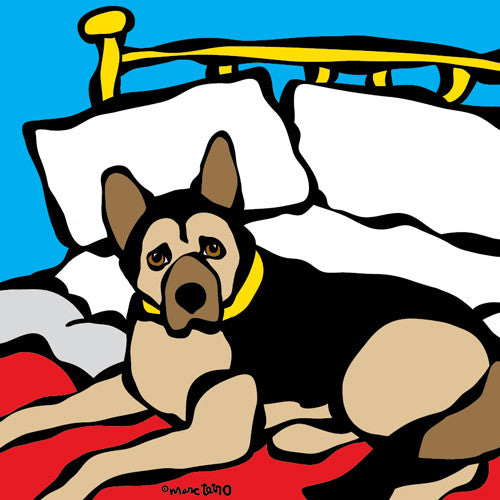 German Shepherd on Bed Print