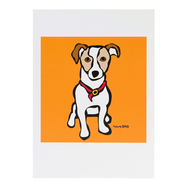 Jack Russell on Orange Greeting Card