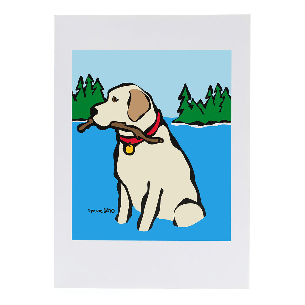 Retriever in Lake Greeting Card