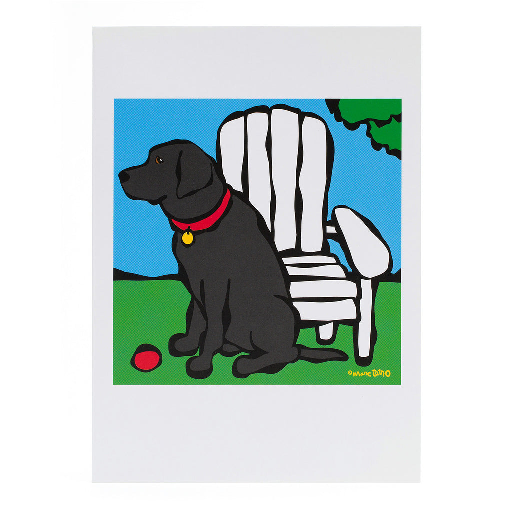 Black Lab with Ball Greeting Card