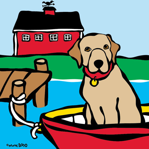 Lab in Red Boat Print