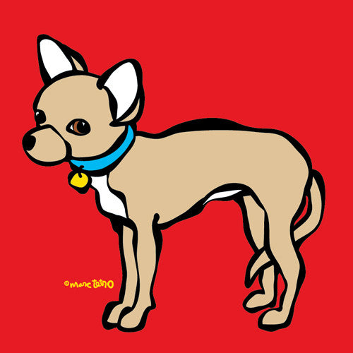Little Chihuahua on Red Print