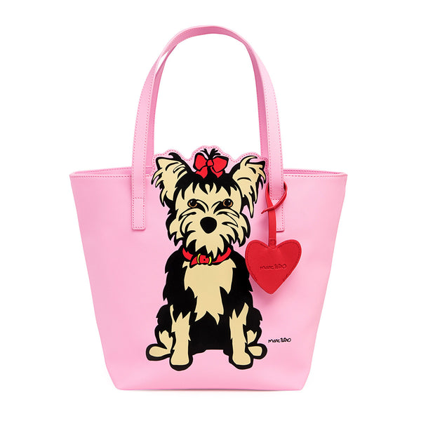 Yorkie Tote Bag with Heart Dangle