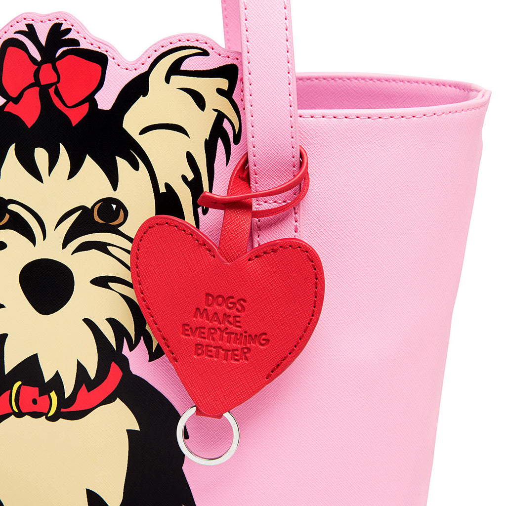 SALE! Yorkie Tote Bag with Heart Dangle