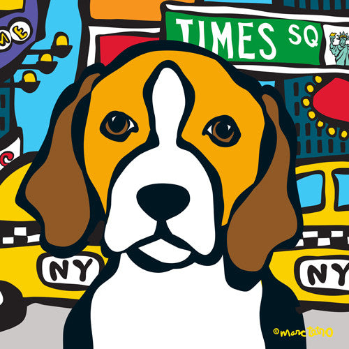 NYC Beagle in Times SQ Print