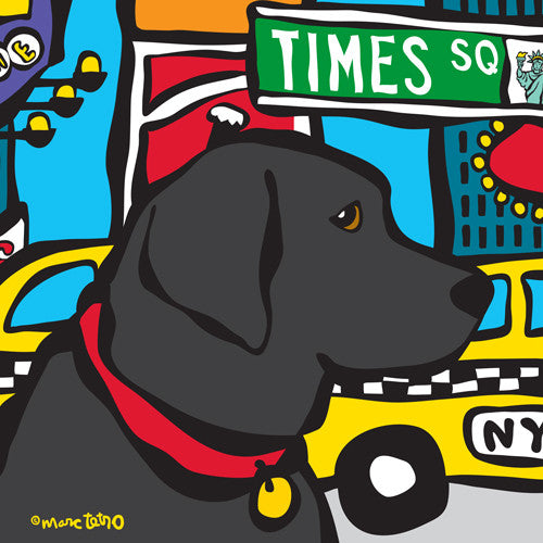 NYC Black Lab in Times SQ Print