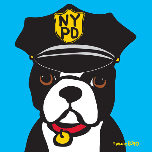NYC Boston Terrier NYPD Print