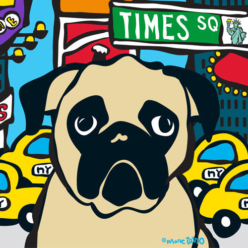 NYC Pug in Times SQ Print