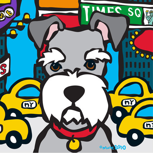 NYC Schnauzer in Times SQ Print