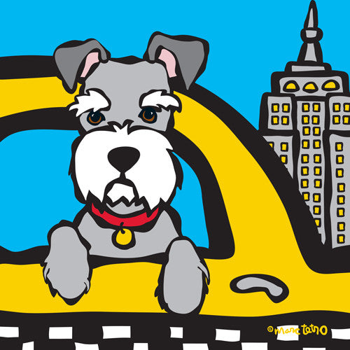 NYC Schnauzer in Taxi Print