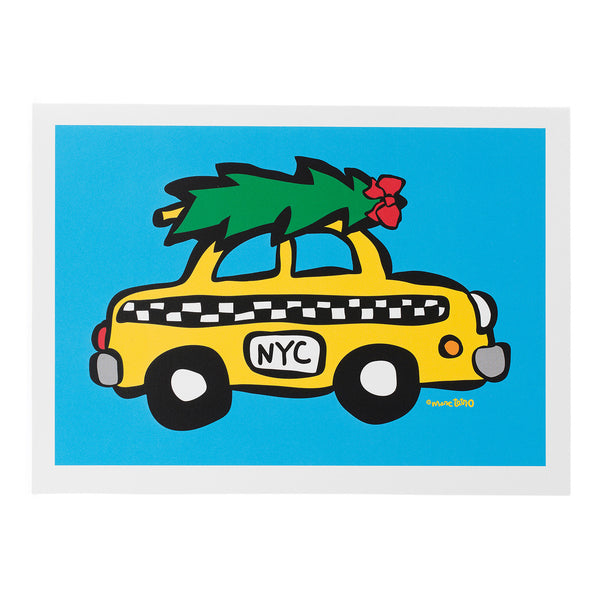 NYC Taxi with Tree Holiday Cards