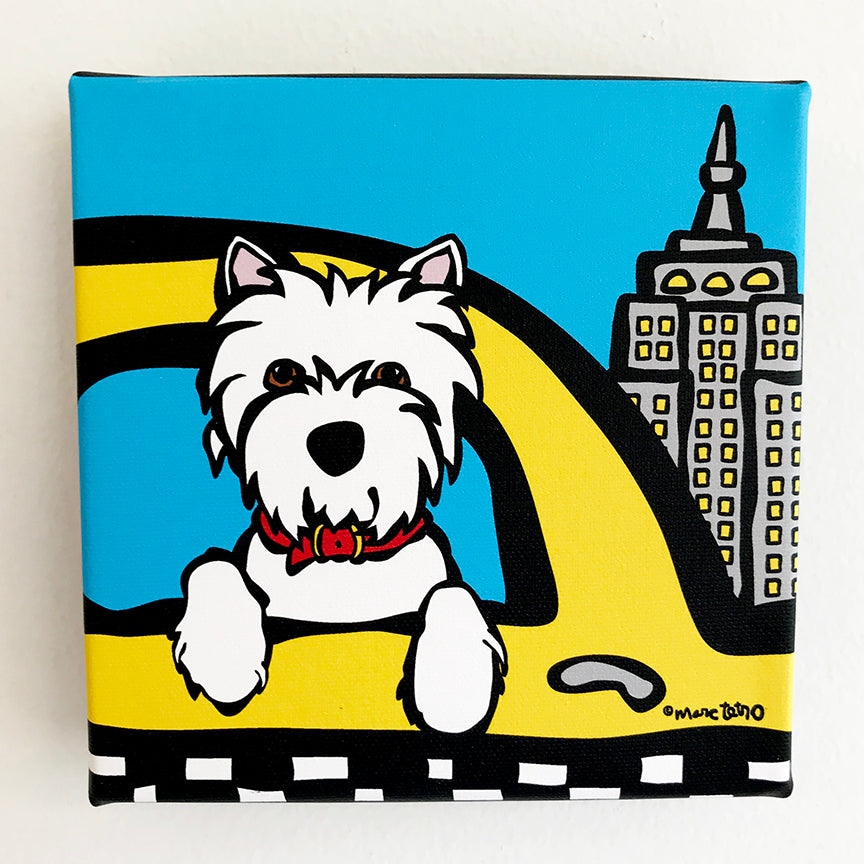 SALE! *Mini Canvas* NYC Westie in Taxi