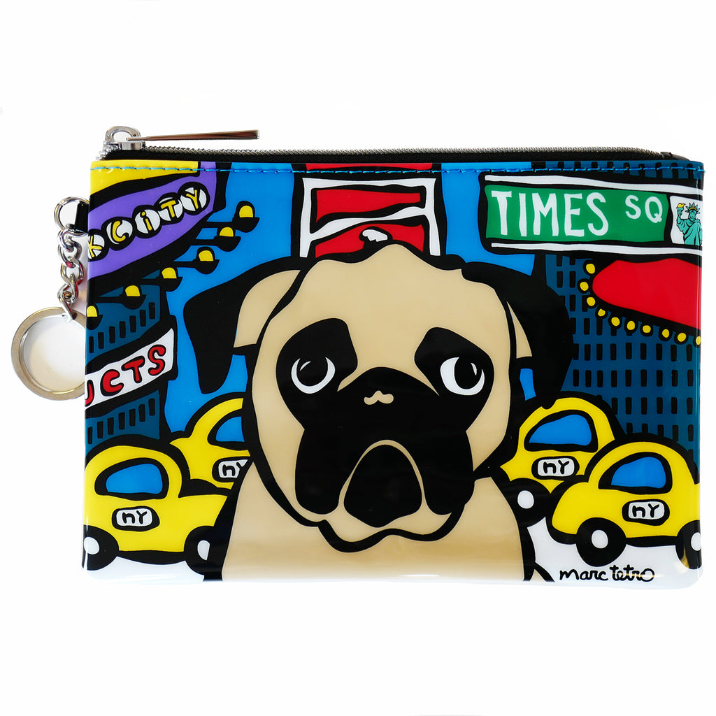 NYC Pug in Times Square Zip Pouch