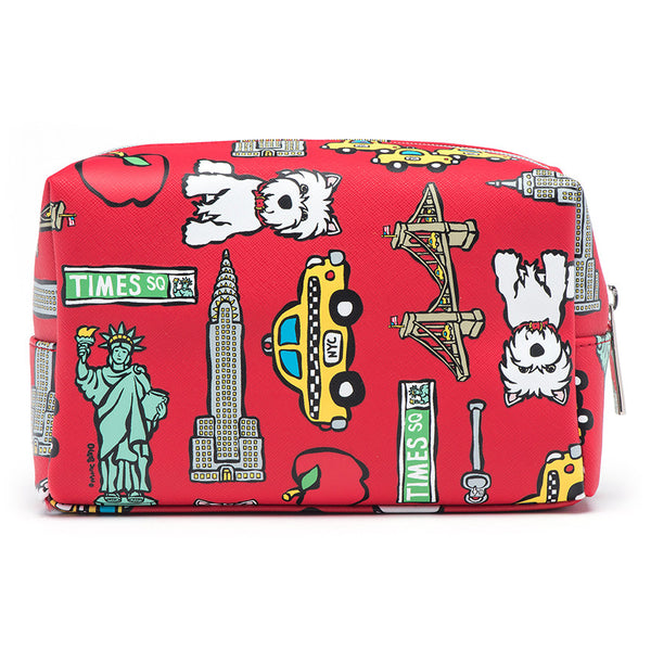 Red NYC Pattern Cosmetic Case - Large