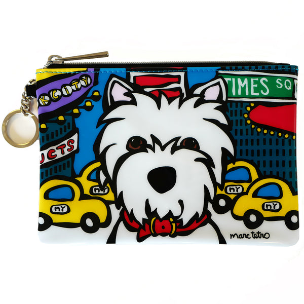 NYC Westie in Times Square Zip Pouch