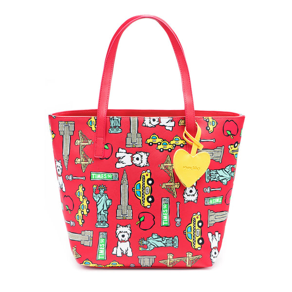 SALE! NYC Pattern on Red Tote Bag with Dangle